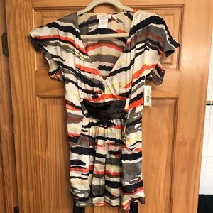 LaROK Kimono Zebra Striped Silk belted Dress